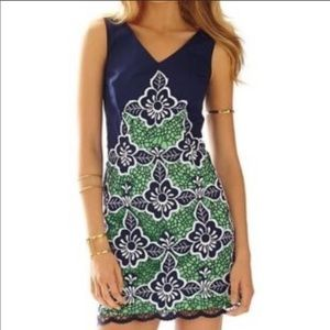 Lilly Pulitzer Sylvie Embroidered Shift Dress Navy